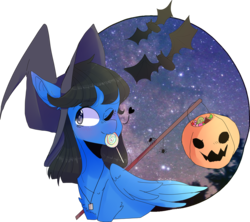 Size: 4762x4231 | Tagged: safe, artist:emily-826, oc, oc only, oc:sonica, bat, pegasus, pony, absurd resolution, candy, female, food, hat, lollipop, mare, mouth hold, night, one eye closed, pumpkin bucket, simple background, solo, stars, transparent background, wink, witch hat, ych result