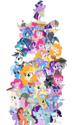 Size: 4134x7087 | Tagged: safe, artist:sonofaskywalker, applejack, bow hothoof, doctor fauna, fluttershy, lily lace, maud pie, pear butter, pinkie pie, princess ember, princess flurry heart, rainbow dash, rarity, spike, star swirl the bearded, starlight glimmer, sweetie belle, trixie, twilight sparkle, windy whistles, alicorn, dragon, earth pony, pegasus, pony, unicorn, a royal problem, it isn't the mane thing about you, once upon a zeppelin, season 7, secrets and pies, shadow play, the perfect pear, absurd resolution, alternate hairstyle, ballerina, dragon lord ember, female, graduation cap, hat, mane six, mare, pony pile, punk, raripunk, simple background, tower of pony, transparent background, tutu, twilarina, twilight sparkle (alicorn), vector