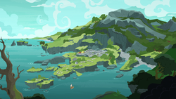 Size: 1920x1080 | Tagged: safe, screencap, shadow play, archaeology, background, boat, coast, mountain, no pony, rockhoof's village, ruins, scenery, tree