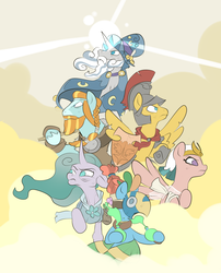 Size: 1012x1250 | Tagged: safe, artist:metal-kitty, flash magnus, meadowbrook, mistmane, rockhoof, somnambula, star swirl the bearded, earth pony, pegasus, pony, unicorn, shadow play, armor, clothes, glowing horn, healer's mask, mask, netitus, pillars of equestria, rockhoof's shovel, shield, shovel