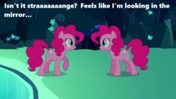 Size: 1280x720   Tagged: safe, edit, edited screencap, screencap, pinkie pie, season 3, too many pinkie pies, cave, cave pool, clone, i think i'm a clone now, mirror pool, pinkie clone, song in the comments, song reference, text, weird al yankovic