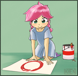 Size: 755x741 | Tagged: safe, artist:kprovido, kettle corn, human, marks and recreation, circle painting, clothes, dress, female, green background, humanized, kettlebetes, paint, paint bucket, simple background, solo, that pony sure does love circles