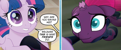 Size: 1642x685 | Tagged: safe, edited screencap, screencap, tempest shadow, twilight sparkle, alicorn, my little pony: the movie, my little pony: the movie adaptation, spoiler:my little pony movie adaptation, comic, element of magic, friendship, reformed, rescue, screencap comic, storm, twilight sparkle (alicorn), wide eyes