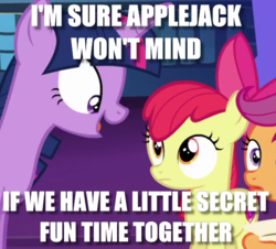 Size: 573x517 | Tagged: safe, edit, edited screencap, screencap, apple bloom, scootaloo, twilight sparkle, alicorn, earth pony, caption, female, filly, image macro, implied foalcon, innuendo, mare, meme, secret butt fun, this will end in jail time, twilight is a foal fiddler, twilight sparkle (alicorn), wide eyes