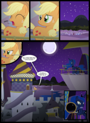 Size: 7358x10000 | Tagged: absurd res, alicorn, applejack, artist:xenoneal, balcony, canterlot castle, comic, earth pony, female, mare, moon, night, pony, princess luna, safe, telescope, yawn