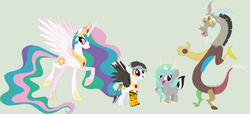 Size: 1280x582 | Tagged: artist:lost-our-dreams, discord, dislestia, female, hybrid, interspecies offspring, male, oc, oc:confusion, oc:unity, offspring, parent:discord, parent:princess celestia, parents:dislestia, pony, princess celestia, safe, shipping, straight