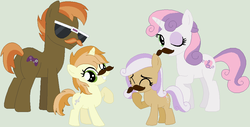 Size: 917x466 | Tagged: artist:lost-our-dreams, button mash, facial hair, fake moustache, female, filly, male, moustache, oc, oc:trim style, oc:zelda melody, offspring, older, one eye closed, parent:button mash, parents:sweetiemash, parent:sweetie belle, pony, safe, shipping, simple background, straight, sunglasses, sweetie belle, sweetiemash, wink