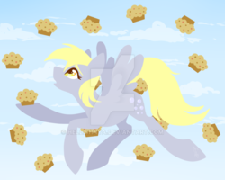 Size: 800x640 | Tagged: artist:hellishnya, derpy hooves, flying, food, muffin, pegasus, pony, safe, sky, solo, watermark