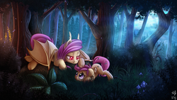 Size: 1920x1080 | Tagged: safe, artist:anti1mozg, artist:atlas-66, fluttershy, scootaloo, bat pony, pegasus, pony, collaboration, cute, cutealoo, fangs, female, filly, flutterbat, forest, grass, mare, moonlight, night, race swap, scenery, scootalove, shyabates, shyabetes, smiling