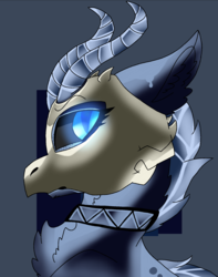 Size: 1558x1982 | Tagged: safe, artist:brokensilence, oc, oc only, oc:draconic, kirin, commission, frown, glowing eyes, horns, icon, mask, skull, skull mask, solo