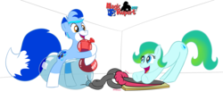 Size: 1272x568 | Tagged: safe, artist:rupertbluefox, oc, oc only, oc:delphina depths, oc:rupert the blue fox, earth pony, fox pony, pony, art trade, balloon, balloon sitting, hug, ponified, ponified oc, pump, simple background, transparent background, wingding eyes