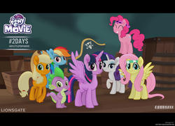 Size: 3739x2701 | Tagged: safe, artist:shutterflyeqd, applejack, fluttershy, pinkie pie, rainbow dash, rarity, spike, twilight sparkle, alicorn, dragon, earth pony, pegasus, pony, unicorn, my little pony: the movie, female, male, mane seven, mane six, mare, movie accurate, pirate, twilight sparkle (alicorn)