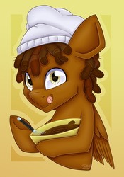 Size: 2804x4000   Tagged: safe, artist:partylikeanartist, oc, oc only, oc:cocoa drizzle, pegasus, pony, batter, bowl, bust, cake batter, chef, chef's hat, chocolate, cooking, dreadlocks, food, hat, licking, licking lips, looking at you, patreon, patreon reward, portrait, simple background, solo, tongue out, whisk