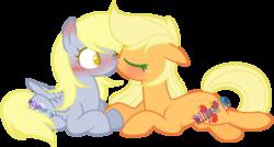 Size: 1062x570 | Tagged: safe, artist:nemeless14070315, applejack, derpy hooves, earth pony, pegasus, pony, blushing, cute, derpyjack, eyes closed, female, lesbian, mare, shipping