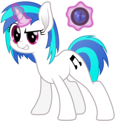 Size: 5349x5634 | Tagged: safe, artist:djdavid98, dj pon-3, vinyl scratch, pony, unicorn, absurd resolution, cutie mark, female, glowing horn, hooves, horn, levitation, magic, mare, movie accurate, simple background, smiling, solo, teeth, telekinesis, transparent background, vector