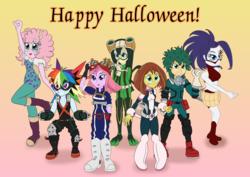 Size: 5028x3558 | Tagged: safe, artist:cybersquirrel, applejack, fluttershy, pinkie pie, rainbow dash, rarity, sci-twi, sunset shimmer, twilight sparkle, frog pony, equestria girls, anime, clothes, cosplay, costume, creati's hero costume, crossover, deku's hero costume, froppy, ground zero's hero costume, halloween, holiday, izuku midoriya, katsuki bakugou, mei hatsume, mina ashido, momo yaoyorozu, my hero academia, ochako uraraka, pinky's hero costume, tsuyu asui, tumblr, tumblr blog, u.a. gym uniform, uravity's hero costume, voice actor joke