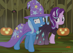 Size: 3028x2223   Tagged: safe, artist:shutterflyeqd, starlight glimmer, trixie, spider, unicorn, clothes, cosplay, costume, duo, female, halloween, holiday, mare, nightmare night, nightmare night costume, pumpkin, scared, show accurate