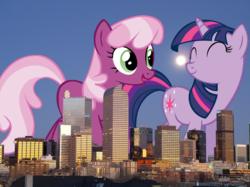 Size: 944x706 | Tagged: safe, cheerilee, twilight sparkle, pony, unicorn, cheerilight, colorado, denver, female, giant pony, lesbian, macro, photoshop, shipping