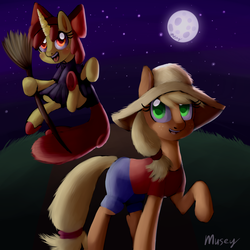 Size: 4320x4320 | Tagged: absurd res, apple bloom, applejack, artist:lamentedmusings, broom, clothes, cosplay, costume, female, flying, flying broomstick, halloween, holiday, kiki's delivery service, moon, night, nightmare night, pony, safe, sisters, species swap, ursula (kiki's delivery service)