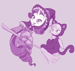 Size: 1000x949 | Tagged: safe, artist:dstears, rainbow dash, rarity, cat, pegasus, pony, unicorn, animal costume, broom, cat costume, clothes, costume, cute, dashabetes, duo, female, flying, flying broomstick, halloween, holiday, lesbian, mare, monochrome, purple, purple background, rainbow dash is not amused, raribetes, raridash, shipping, simple background, smiling, socks, striped socks, unamused, witch