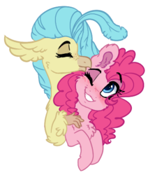Size: 369x416 | Tagged: safe, artist:saphi-boo, pinkie pie, princess skystar, classical hippogriff, hippogriff, pony, my little pony: the movie, female, lesbian, shipping, skypie