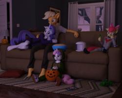 Size: 1500x1200 | Tagged: safe, artist:tahublade7, apple bloom, applejack, rarity, sweetie belle, turtle, anthro, plantigrade anthro, 3d, astronaut, barefoot, clothes, costume, couch, daz studio, feet, female, halloween, holiday, jack-o-lantern, lesbian, nightmare night costume, pumpkin, pumpkin bucket, rarijack, shipping, siblings, sisters, slenderman, story included, tree