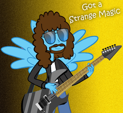 Size: 1079x987   Tagged: safe, artist:grapefruitface1, oc, oc only, oc:electric light (jeff lynne pony), pony, equestria girls, electric guitar, electric light orchestra, elo, equestria girls-ified, equestria light orchestra, facial hair, guitar, jeff lynne, male, music, musical instrument, musician, parody, ponied up, ponified, solo, song reference, strange magic, swag, winged human