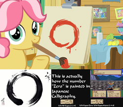 Size: 1920x1668 | Tagged: safe, artist:arima, edit, edited screencap, screencap, babs seed, kettle corn, rainbow dash, rarity, tender taps, earth pony, pony, marks and recreation, 0, analysis, apple, bottle, calligraphy, candy, circle, circle painting, colt, educational, female, filly, foal, food, grapes, gundam, japan, japanese, lemon, looking at you, looking back, male, milk, milk bottle, mouth hold, orange, paint, paintbrush, painting, pictures, sd gundam, smiling, solo, super nintendo, super robot wars, video game, zero, zeta gundam