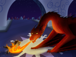 Size: 2535x1900 | Tagged: safe, artist:haasiophis-sahel, king sombra, dragon, pony, unicorn, crossover, crystal empire, dragonfire, duo, fanart mashup challenge, fight, fire, fire breath, lord of the rings, male, smaug the golden, stallion