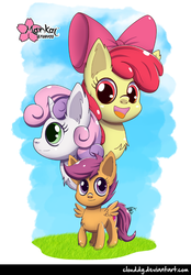 Size: 695x1000 | Tagged: safe, artist:clouddg, apple bloom, scootaloo, sweetie belle, earth pony, pegasus, pony, unicorn, cutie mark crusaders, female, filly, open mouth, pony pile, signature, the cmc's cutie marks, tower of pony
