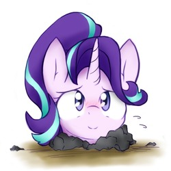 Size: 1280x1280 | Tagged: safe, artist:akainu_pony, starlight glimmer, pony, unicorn, blushing, buried, cute, female, glimmerbetes, looking at you, mare, simple background, smiling, solo, white background