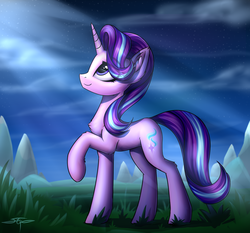 Size: 1920x1792 | Tagged: safe, artist:setharu, starlight glimmer, pony, unicorn, chest fluff, cloud, cute, cutie mark, ear fluff, female, glimmerbetes, grass, grass field, horn, lidded eyes, looking up, mare, mountain, night, raised hoof, scenery, signature, sky, smiling, solo, stars
