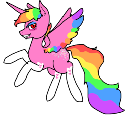 Size: 941x862   Tagged: safe, artist:nootaz, oc, oc only, oc:prince bloodshed, alicorn, alicorn oc, donut steel, rainbow hair, rearing, simple background, solo, transparent background