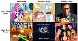 Size: 1004x526 | Tagged: 4chan, black mirror, drama bait, for smart people about smart people, friends, f.r.i.e.n.d.s, house m.d., meme, /mlp/, rick and morty, safe, xavier: renegade angel