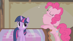 Size: 1280x720 | Tagged: safe, screencap, pinkie pie, twilight sparkle, swarm of the century, great moments in animation, swallowing, throat bulge, wat