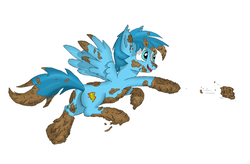 Size: 1809x1189 | Tagged: belly button, cute, dirt, dirty, male, messy, mud, muddy, mud play, mud pony, oc, oc only, open mouth, pegasus, playing, pony, safe, solo, swamp, wet and messy