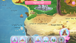 Size: 1280x720 | Tagged: safe, my little pony: the movie, arimaspi territory, caves of counundrum, farthest reaches, gameloft, klugetown, map, map of equestria, nightmare cliffs