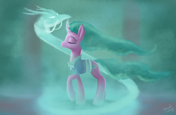 Size: 3500x2300 | Tagged: safe, artist:emeraldgalaxy, mistmane, dragon, pony, unicorn, campfire tales, clothes, curved horn, dragon spirit, ethereal mane, eyes closed, female, high res, magic, mare, solo