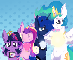 Size: 4327x3562   Tagged: safe, artist:dragonpone, derpibooru exclusive, applejack, fluttershy, pinkie pie, princess cadance, princess celestia, princess luna, rainbow dash, rarity, twilight sparkle, alicorn, earth pony, pegasus, pony, unicorn, alicorn tetrarchy, belly button, big crown thingy, bipedal, blushing, cheek fluff, chest fluff, ear fluff, eyes closed, female, grin, heart, jewelry, lesbian, lidded eyes, looking at each other, looking at you, mane six, moon, nose wrinkle, picture, picture frame, pouting, regalia, scrunchy face, shit eating grin, smiling, smug, spread wings, squint, sun, tangible heavenly object, true love princesses, twilight sparkle (alicorn), twilunestiance, wings