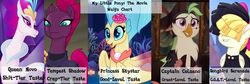 Size: 2000x669   Tagged: safe, screencap, captain celaeno, princess skystar, queen novo, songbird serenade, tempest shadow, anthro, pegasus, seapony (g4), unicorn, my little pony: the movie, armor, bow, broken horn, chart, eye scar, female, fins, jewelry, mare, movie drama, op is a duck, op is trying to start shit, pirate, ratings, scar, sia (singer), solo, waifu, water