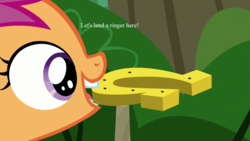 Size: 1280x720 | Tagged: safe, edit, edited screencap, screencap, scootaloo, marks and recreation, horseshoes, mouth hold, scootaloo will show us games to play, text