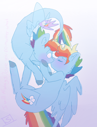 Size: 1000x1300 | Tagged: safe, artist:shinningblossom12, rainbow dash, seapony (g4), my little pony: the movie, dashblitz, female, male, rainbow blitz, rule 63, seaponified, seapony rainbow dash, self ponidox, selfcest, shipping, simple background, species swap, straight, white background