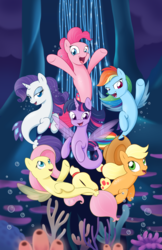 Size: 1024x1583 | Tagged: alicorn, applejack, applejack's hat, artist:sycotei-b, cowboy hat, female, fluttershy, hat, looking at you, mane six, my little pony: the movie, pinkie pie, rainbow dash, rarity, safe, seaponified, seapony applejack, seapony fluttershy, seapony (g4), seapony pinkie pie, seapony rainbow dash, seapony rarity, seapony twilight, species swap, twilight sparkle, twilight sparkle (alicorn)