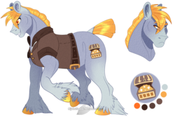 Size: 1250x833 | Tagged: artist:bijutsuyoukai, clothes, earth pony, male, oc, oc only, oc:sampson, pony, reference sheet, safe, solo, stallion