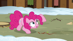 Size: 1280x720 | Tagged: not asking for trouble, pinkie pie, pony, safe, screencap, solo, twig
