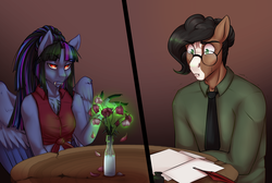 Size: 3500x2355 | Tagged: safe, artist:askbubblelee, oc, oc only, oc:pandie, oc:walter nutt, anthro, earth pony, anthro oc, claws, clothes, death by coffee, fangs, female, flower, glasses, magic, male, mare, paper, red eyes, shirt, simple background, sitting, slit eyes, stallion, story in the source, surprised