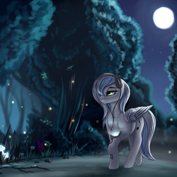 Size: 3200x3200 | Tagged: safe, artist:pony-way, oc, oc only, oc:white cloud, firefly (insect), pegasus, pony, female, forest, headphones, mare, moon, night, path, scenery, solo, tree