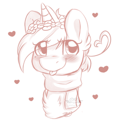 Size: 3000x3000   Tagged: safe, artist:littledreamycat, oc, oc only, pony, unicorn, blushing, bust, clothes, floral head wreath, flower, heart, raspberry, scarf, solo, tongue out