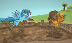 Size: 2765x1652 | Tagged: belly button, dirt, dirty, messy, mud, muddy, mud play, mud pony, oc, ocean, oc only, oc:shadowfly, open mouth, pegasus, playing, pony, safe, shipping, swamp, wet and messy