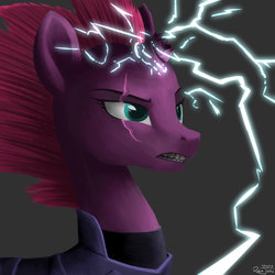 Size: 1366x1366 | Tagged: artist:robsa990, broken horn, female, lightning, mare, my little pony: the movie, pony, safe, solo, tempest shadow, unicorn